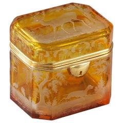 19th Century Bohemian Crystal Jewelry Box