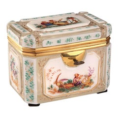 19th Century Bohemian Jewelry Box in Overlay, Biedermeier Period