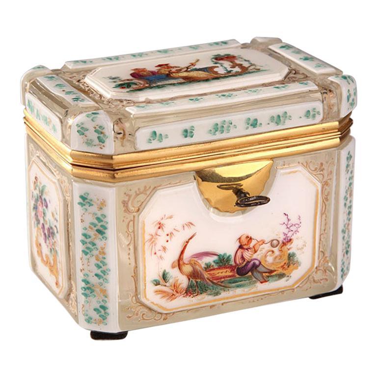 19th Century Bohemian Jewelry Box in Overlay, Biedermeier Period For Sale