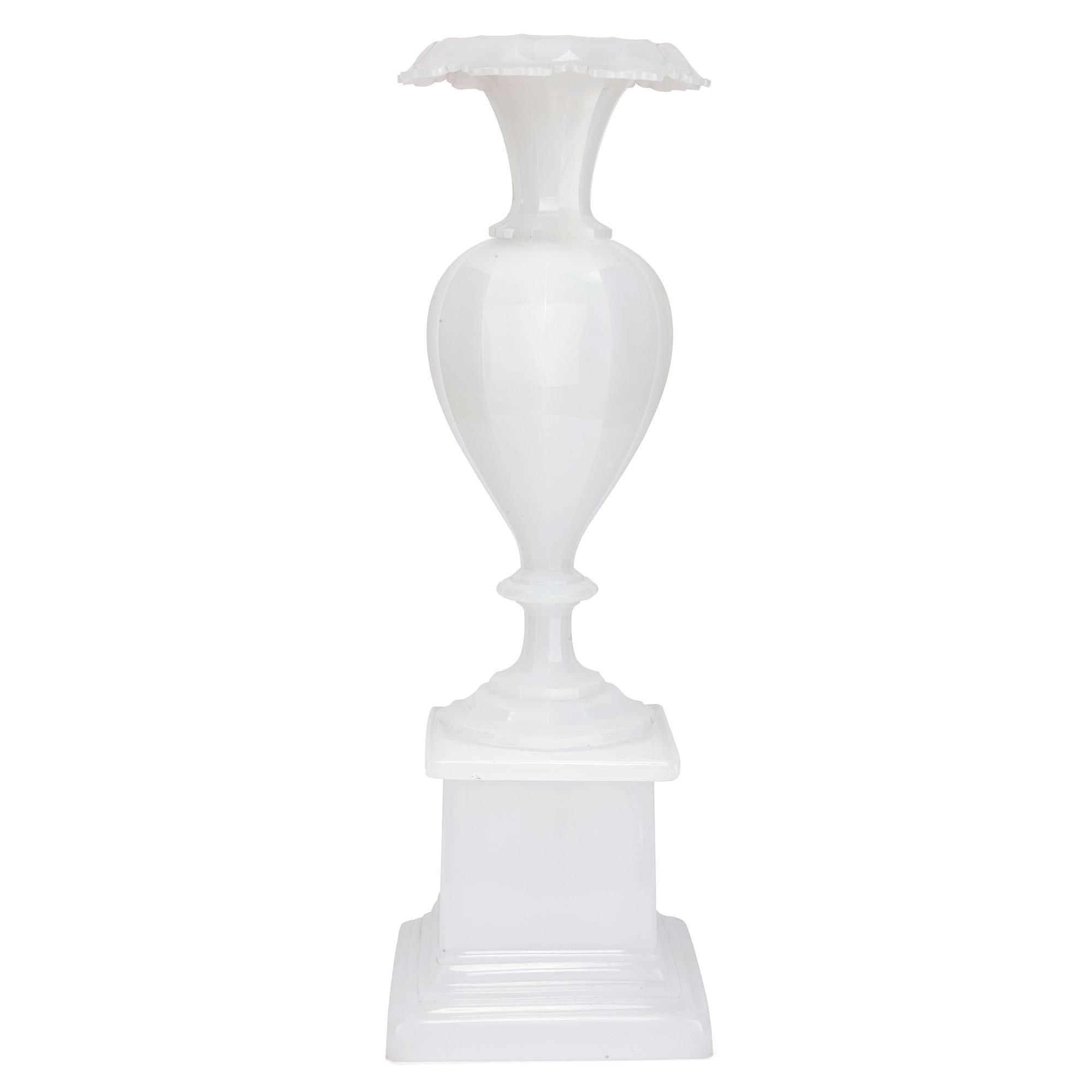 19th Century Bohemian Opalescent Glass Vase