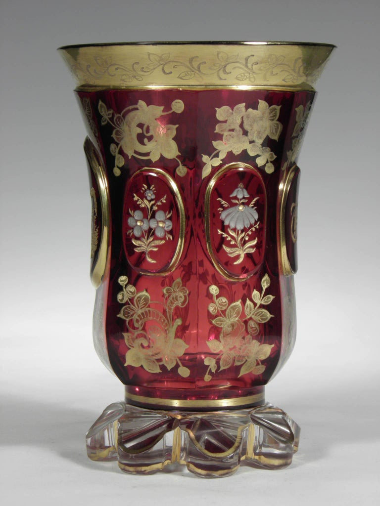 Antique Bohemian Ruby glass with horse and flower motive with initials from 19th Century. Hand painted with gold and silver.