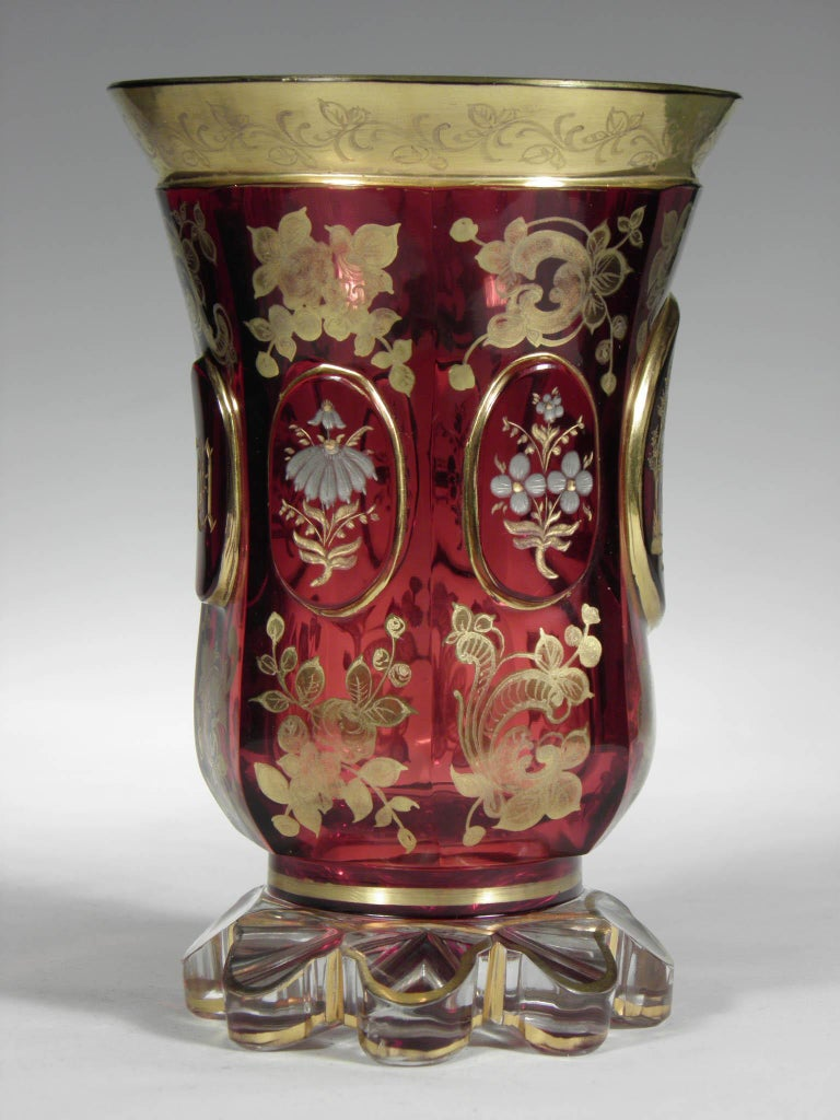 Hand-Painted Antique Bohemian Ruby Glass Gold Paint Horse Flower Motive 19th Century For Sale