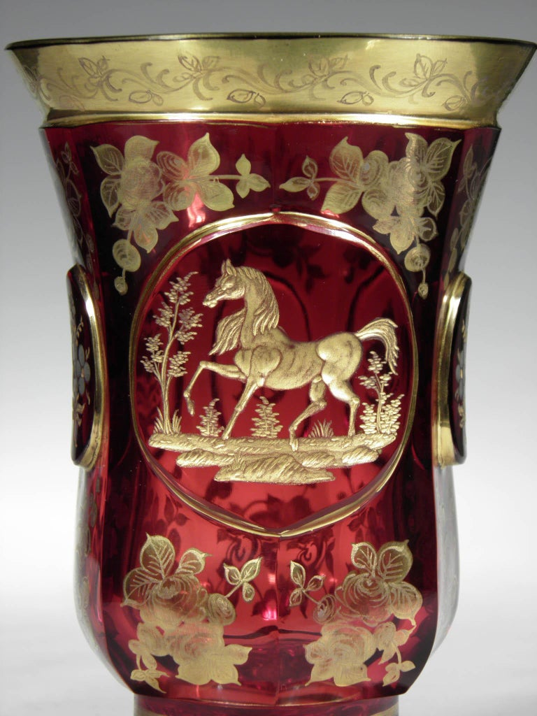 Antique Bohemian Ruby Glass Gold Paint Horse Flower Motive 19th Century In Good Condition For Sale In Nový Bor, CZ
