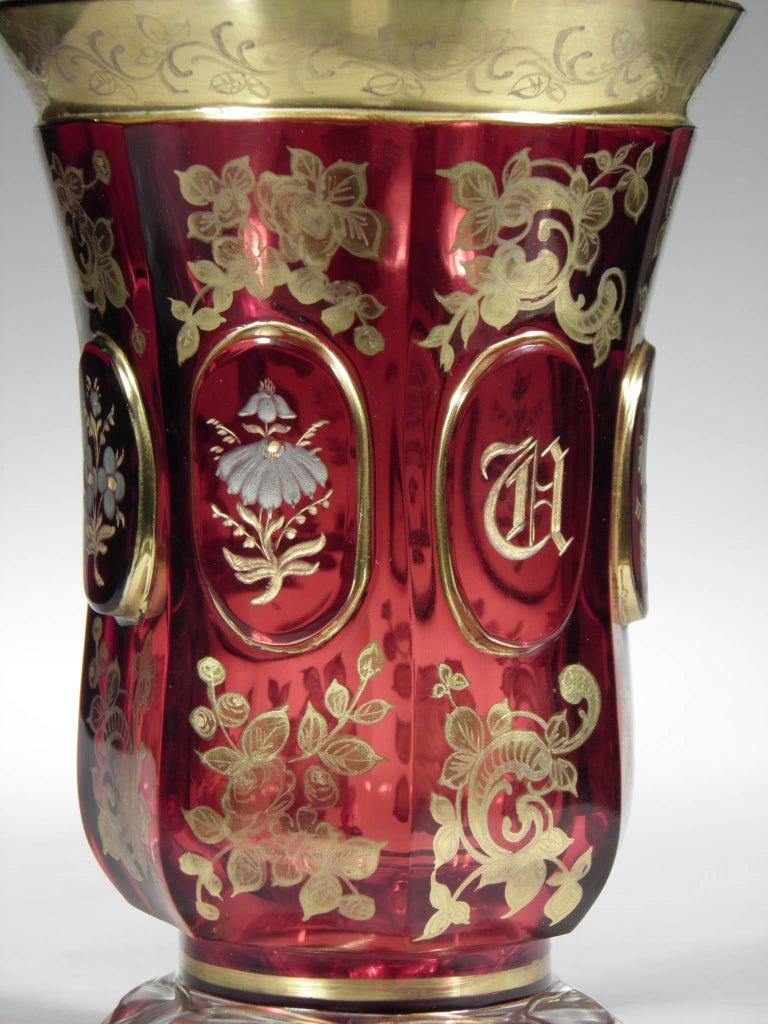 Antique Bohemian Ruby Glass Gold Paint Horse Flower Motive 19th Century For Sale 1