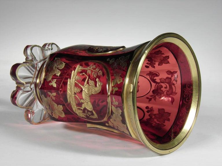 Antique Bohemian Ruby Glass Gold Paint Horse Flower Motive 19th Century For Sale 2