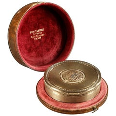 19th Century Boin-Taburet Silver Box with Its Leather Case