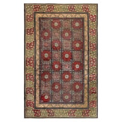 19th Century Bold Chinese Silk Rug in Red, Black, Beige and Brown
