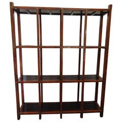 19th Century Bookcase in Red and Black Lacquered Wood