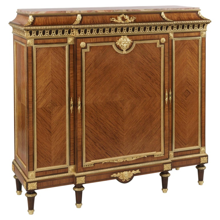 19th Century Bookmatched Cabinet with Marble Top by François Linke For Sale