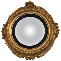 19th Century Boston Gilt Convex Mirror Labeled William Balch