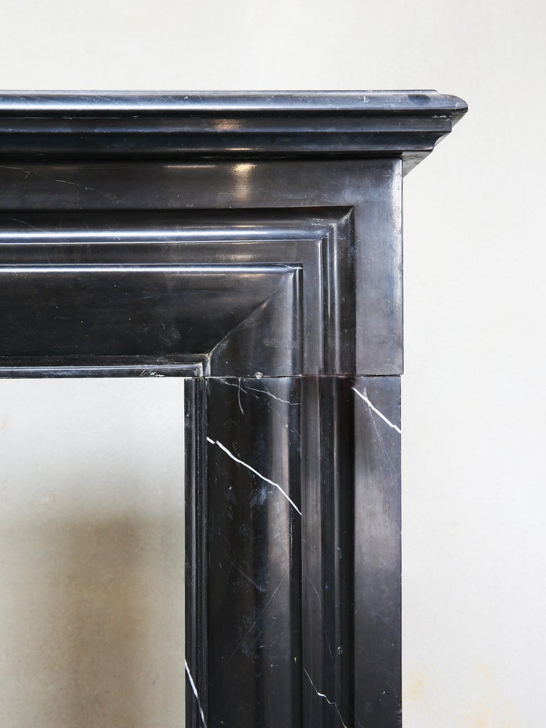 19th Century, Boudain Style, Antique Nero Marquita Marble Fireplace For Sale 5