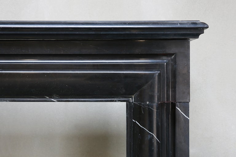 Other 19th Century, Boudain Style, Antique Nero Marquita Marble Fireplace For Sale