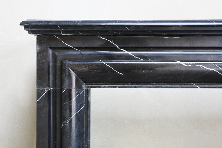 French 19th Century, Boudain Style, Antique Nero Marquita Marble Fireplace For Sale