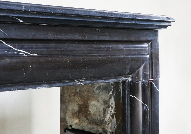 19th Century, Boudain Style, Antique Nero Marquita Marble Fireplace In Good Condition For Sale In Made, NL