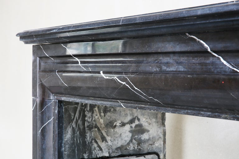 19th Century, Boudain Style, Antique Nero Marquita Marble Fireplace For Sale 1