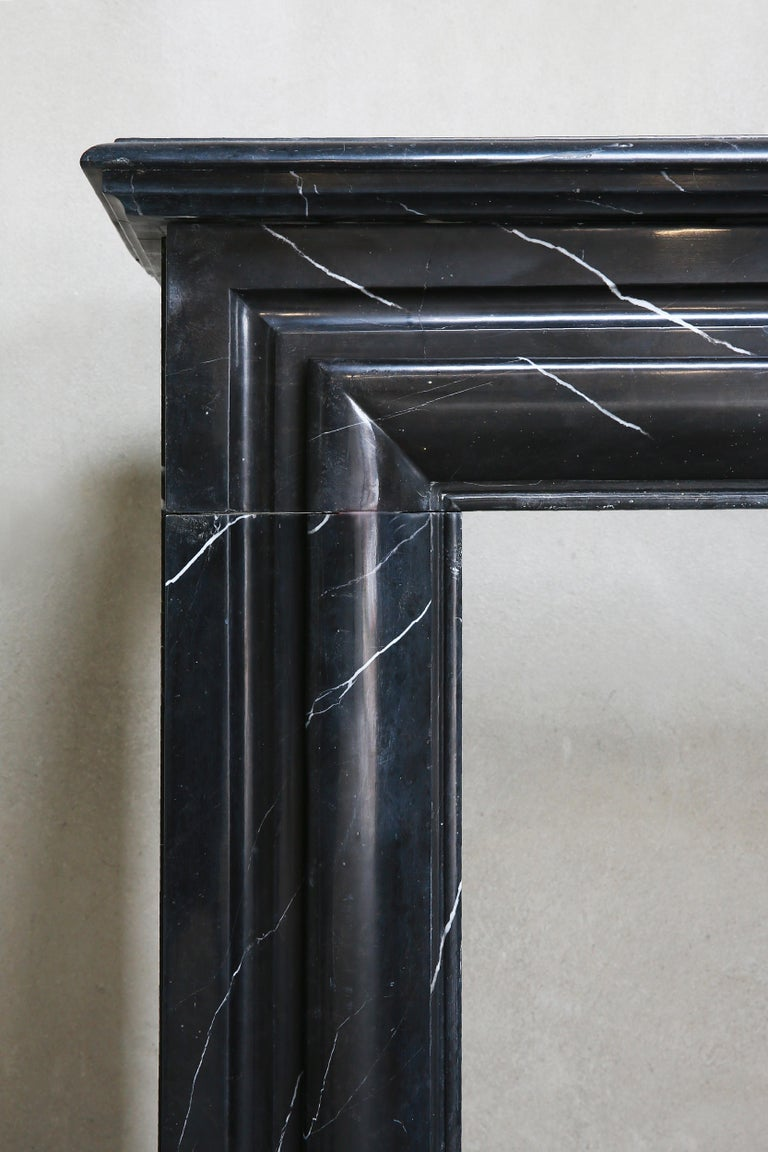 19th Century, Boudain Style, Antique Nero Marquita Marble Fireplace For Sale 3