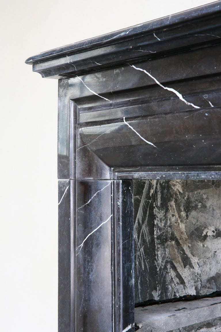 19th Century, Boudain Style, Antique Nero Marquita Marble Fireplace For Sale 4