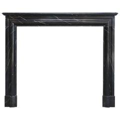19th Century, Boudain Style, Antique Nero Marquita Marble Fireplace