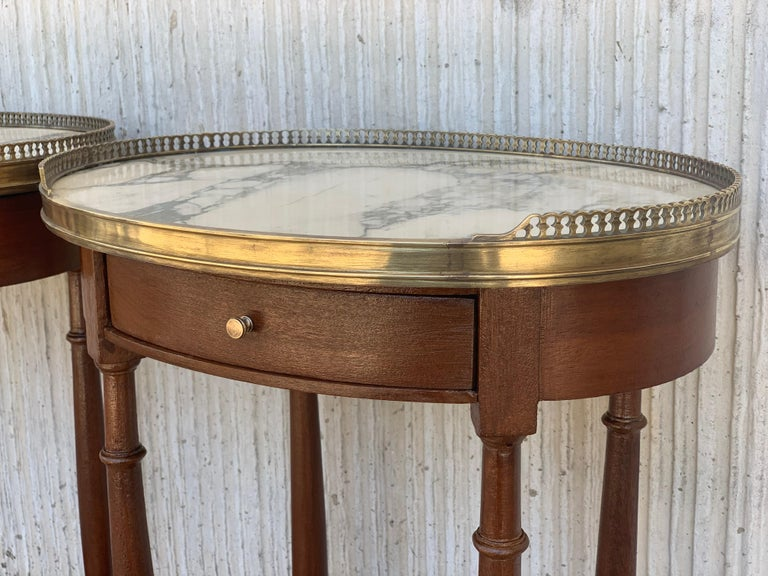 19th Century Bouillotte Louis XVI Style, Kidney Shaped Side Tables or Nightstand For Sale 6
