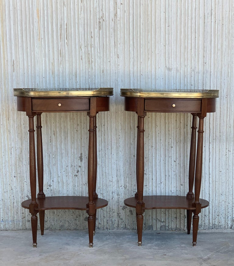 French 19th Century Bouillotte Louis XVI Style, Kidney Shaped Side Tables or Nightstand For Sale