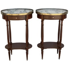 19th Century Bouillotte Louis XVI Style, Kidney Shaped Side Tables or Nightstand