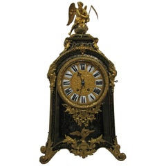 19th Century Boulle Mantel Clock '18th Century Pattern' Wood Gilded Bronze