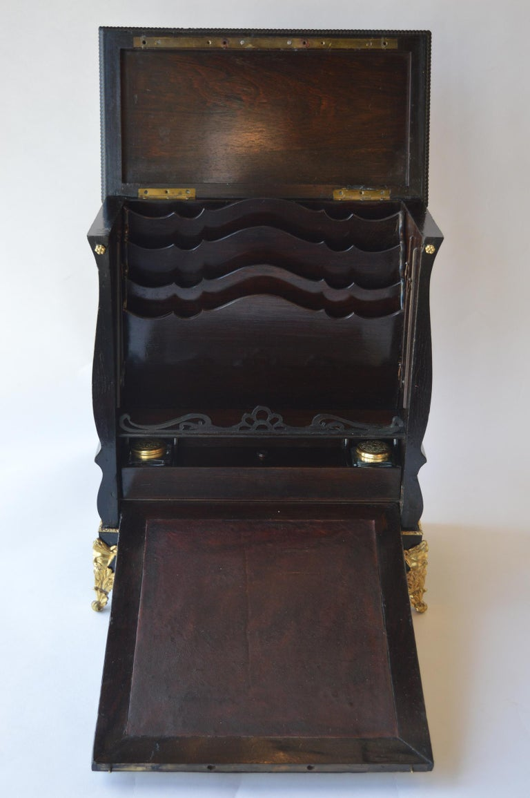 19th Century Boulle Writing Box with Inkwell For Sale 2