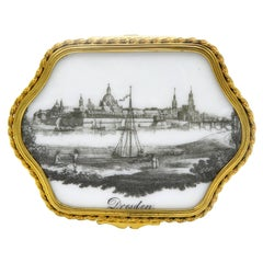 19th Century Box with Meissen Porcelain Lid of Dresden Landscape Painting