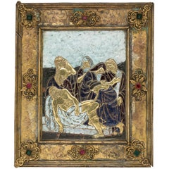 19th Century Brass Enamel Limoges Religious Plaque of the Lamentation of Christ