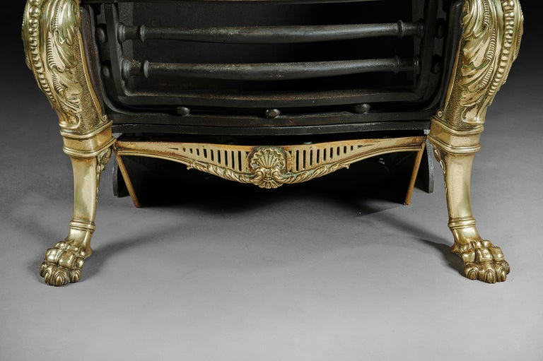 19th Century Brass and Steel Hooded Antique Fireplace Grate, Renaissance Style For Sale 1