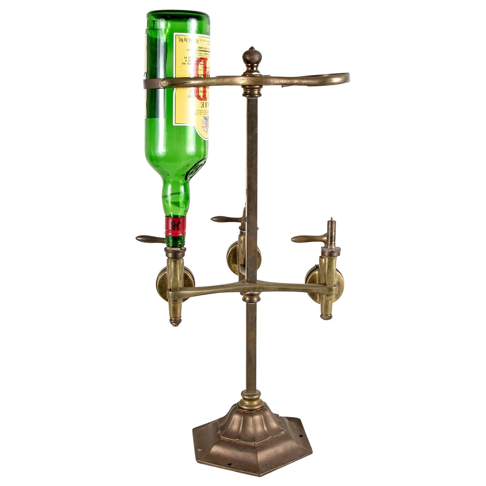 19th Century Brass Bar Optic Triple Dispenser