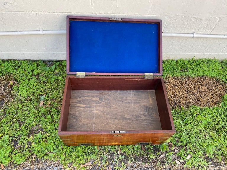 English 19th Century Brass Bound Mahogany British Campaign Trunk with Drawer For Sale