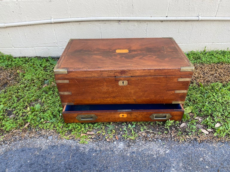 19th Century Brass Bound Mahogany British Campaign Trunk with Drawer For Sale 2