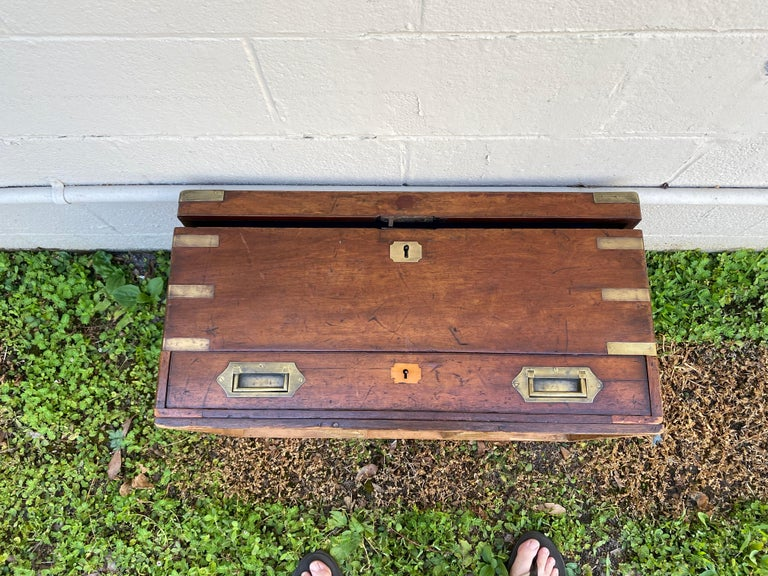19th Century Brass Bound Mahogany British Campaign Trunk with Drawer For Sale 3
