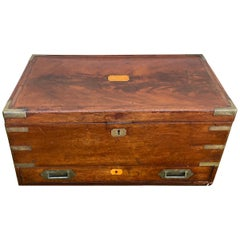 19th Century Brass Bound Mahogany British Campaign Trunk with Drawer