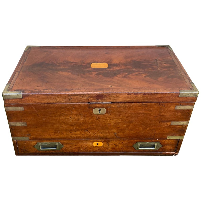 19th Century Brass Bound Mahogany British Campaign Trunk with Drawer For Sale