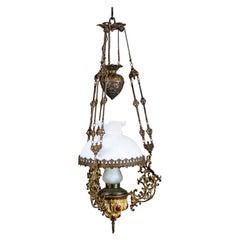 19th Century Brass-Ceramic Kerosene Lamp Turned Into Electric Ceiling Lamp