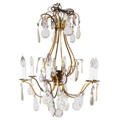 Late 19th Century French Scrolled Brass Chandelier