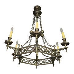 19th Century Brass Chandelier from France