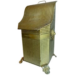 19th Century Brass Coal Bin with Removable Liner