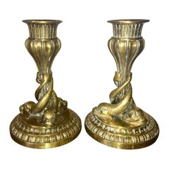 19th Century Brass Dolphin Candlesticks