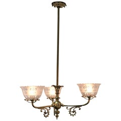 19th Century Brass Gas Chandelier