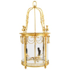 19th Century Brass Hall Lantern