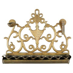 19th Century Greek Brass Hanukkah Lamp Menorah