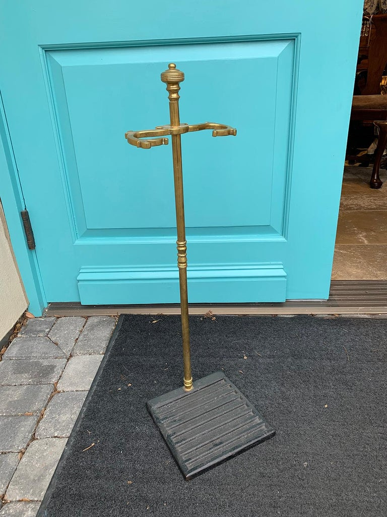 19th century brass and iron fire tool stand Measures: 8.25