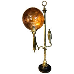19th Century Brass Lamp Converted to Electricity