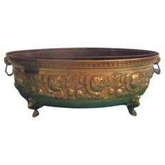 19th Century Brass Oval French Jardinière or Planter with Floral Motif