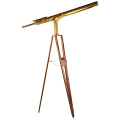 19th Century Brass Telescope with Original Wooden Tripod Stand, circa 1890