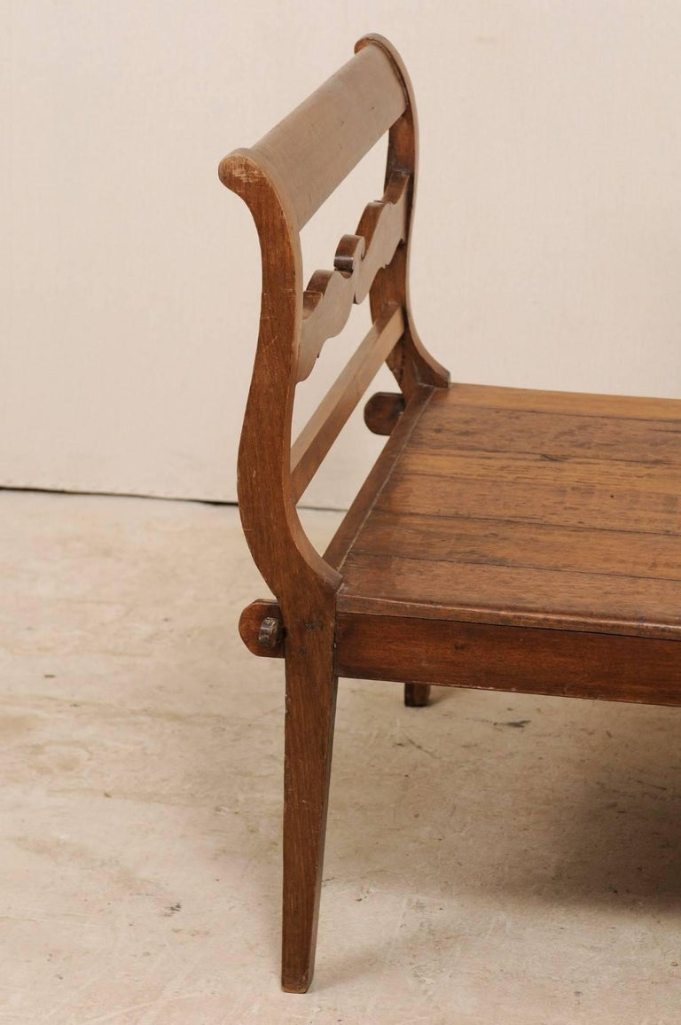 19th C. Brazilian Nicely Carved Peroba Hardwood Daybed (or Backless Bench)  For Sale 6