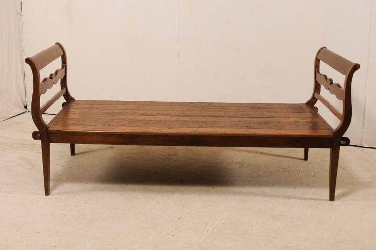 19th Century 19th C. Brazilian Nicely Carved Peroba Hardwood Daybed (or Backless Bench)  For Sale